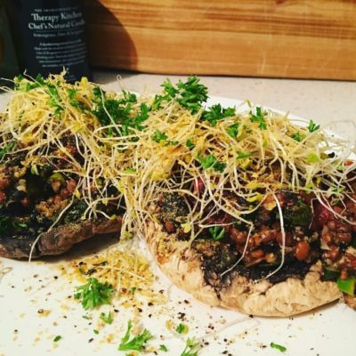 spicy lentil mushrooms